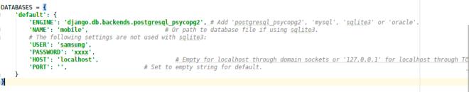 Database configuration with Django