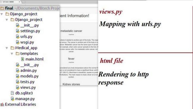 Building Live Demo on Patient information using Django Web Framework