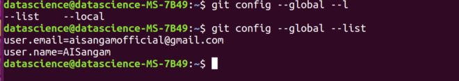 Configuring email and username in ubuntu (Git)