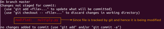 git status after modifying tracked file on local system