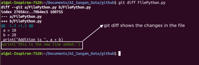 git diff to show the difference