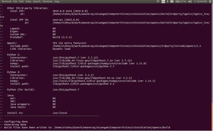 OpenCV Build Information